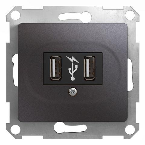 USB Розетка, 5В/1400 mA, 2 x 5 В/700 mA. Цвет Графит. Schneider Electric Glossa. GSL001332
