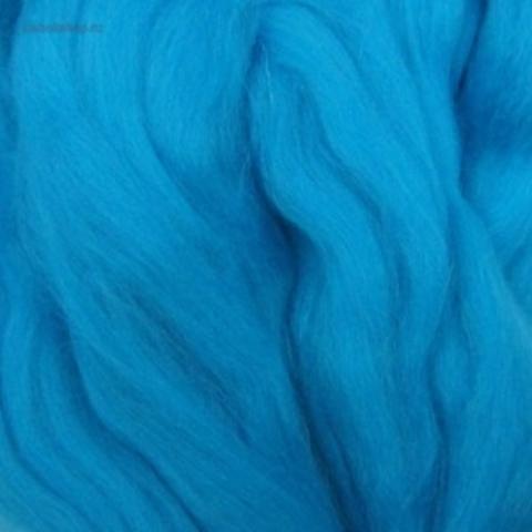 Шерсть для валяния полутонкая 172 Ярко-голубой Пехорка