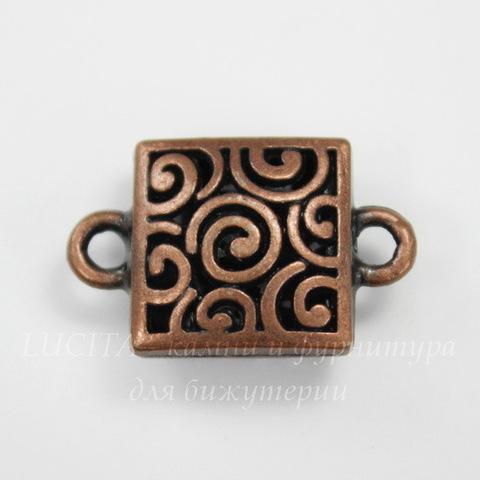 "Коннектор ""Спиральки"" (1-1) 23х15 мм (цвет - античная медь)"
