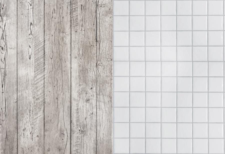 Разворот фотофона: состаренное дерево и белая плитка