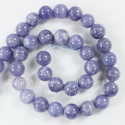 Бусина Аквамарин (прессов, тониров), шарик, цвет - серо-голубой, 10 мм, нить