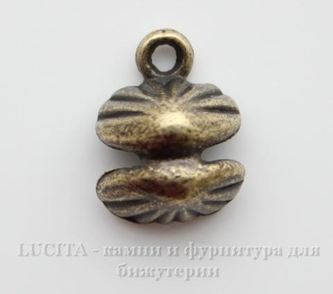 """Подвеска 3D """"Ракушка с жемчужиной"""" 14х11х7 мм (цвет - античная бронза)"""