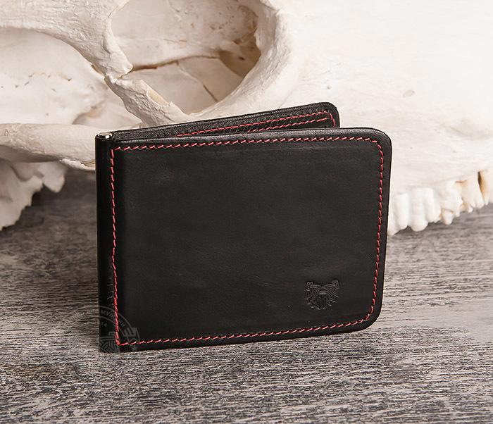 WB108-6 Кошелек с зажимом для денег из гладкой черной кожи.»Boroda Design» фото 02