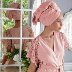 НАБОР 2 предмета: SANTROPEZ розовый махровый женский халат и полотенце 50х100 Tivolyo Home (Турция)
