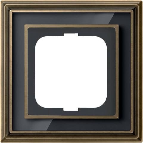 Рамка на 1 пост. Цвет Латунь античная, чёрное стекло. ABB(АББ). Dynasty(Династия). 1754-0-4585