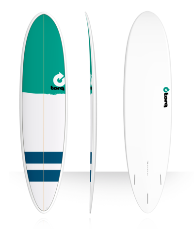 Серфборд TORQ 7'6'' Fun - New Classic (green nose/stripes)
