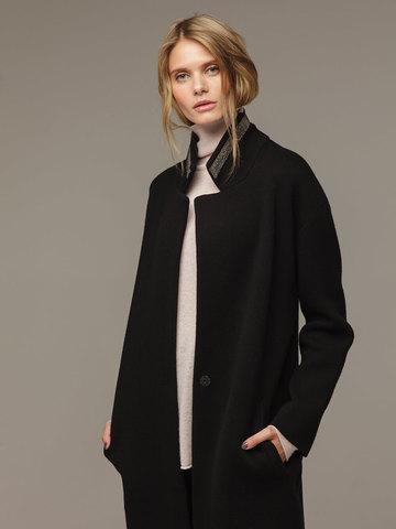 Женское черное пальто шерсть/кашемир - фото 2