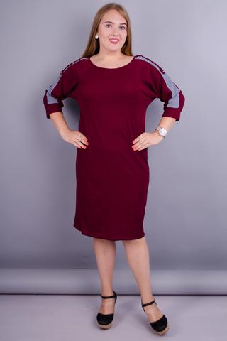 Инесса. Повседневное платье больших размеров. Бордо.