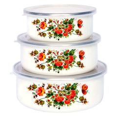 Набор 3 штуки (400 мл, 700 мл, 1000 мл) эмалированных салатников с пластиковыми крышками EM-00003A/31