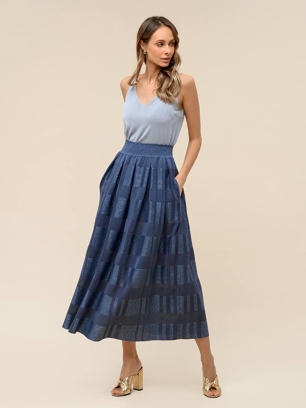 Женская юбка цвета деним из вискозы - фото 1