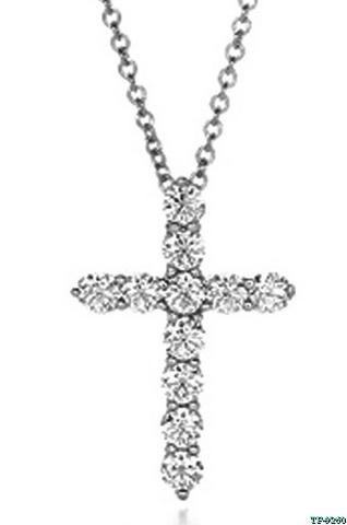 Серебряный крестик с цирконами  в  стиле Tiffany