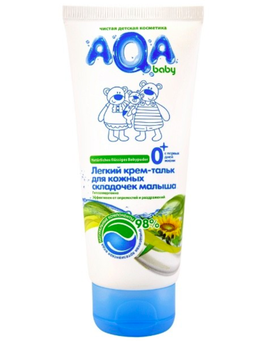 AQA baby. Легкий крем-тальк для кожных складочек малыша, 100 мл