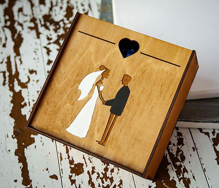 BOX236-2 Подарочная деревянная коробка на свадьбу (17*17*7 см) фото 02