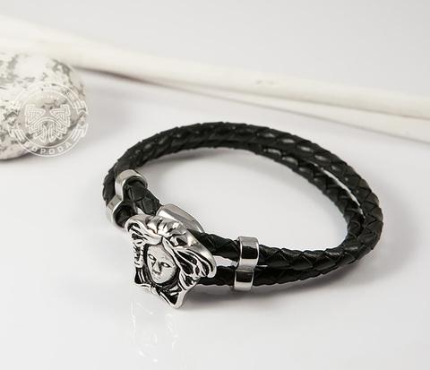 Оригинальный браслет «Горгона» из кожаного шнура (20 см)