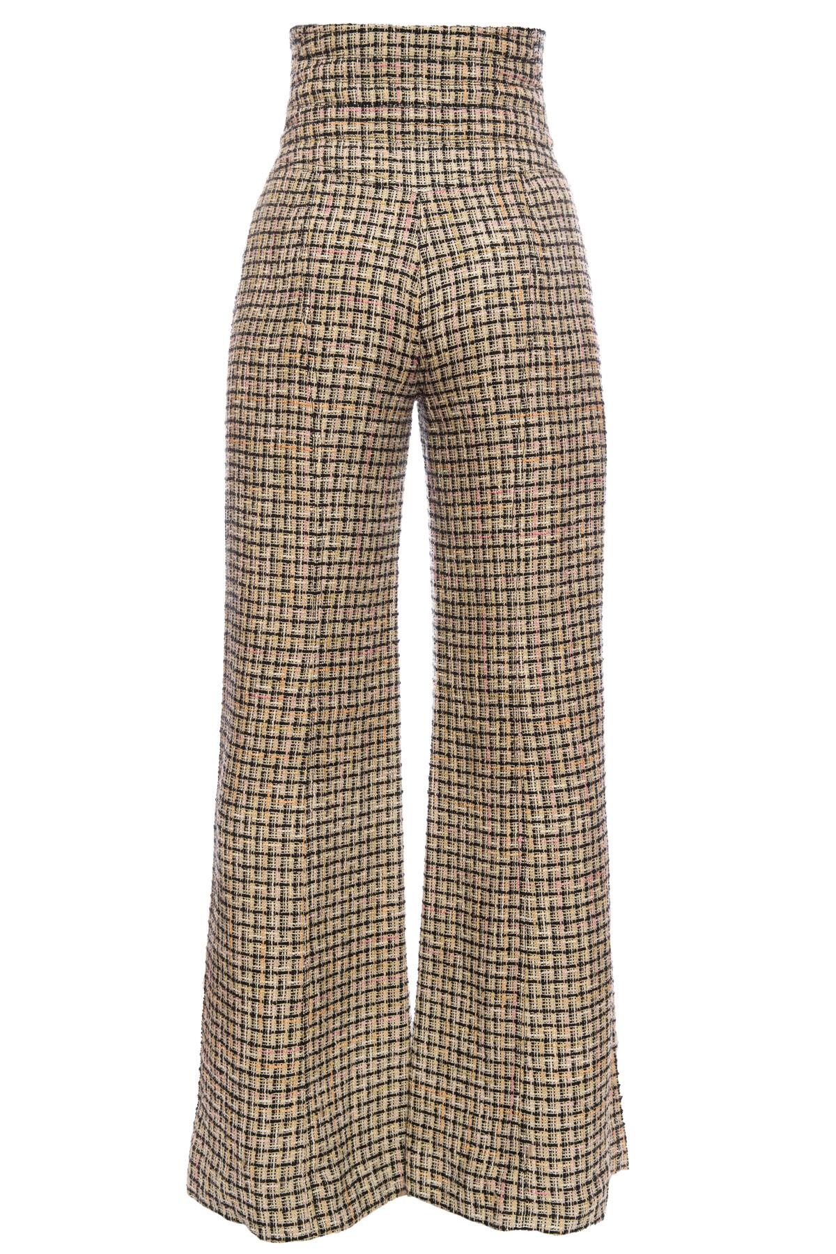 Широкие твидовые брюки с высокой талией, 40 размер.