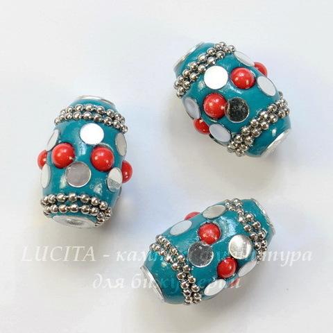 """Бусина """"Индонезийская"""" ручной работы голубая с красным, 22х15 мм"""