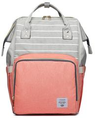 Сумка-рюкзак для Мам арт: 2106 Полоска + Коралловый
