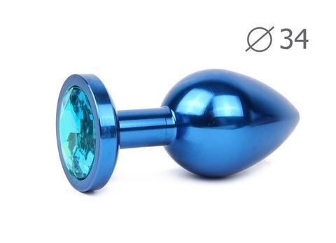 Коническая синяя анальная втулка с голубым кристаллом - 8,2 см.