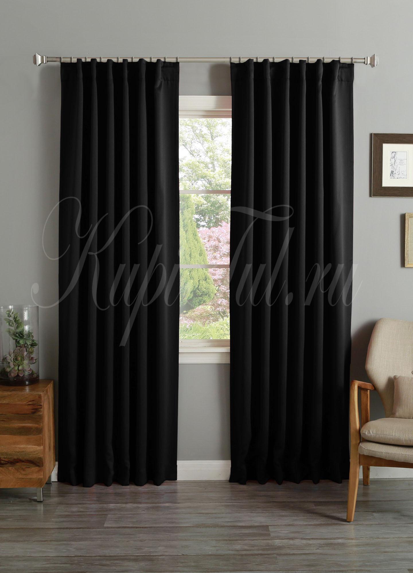 Длинные шторы. Classic Blackout (Черный). Однотонный блэкаут