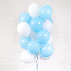 Букет из 20 шаров (Белый и Голубой)