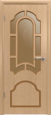 Дверь Владимирская фабрика дверей Кристалл 3ДР1, стекло бронза художественное, цвет светлый дуб, остекленная