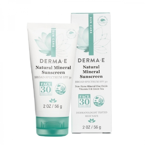 Natural Mineral Sunscreen  SPF 30, 2 oz (56 гр) Минеральный лосьон для лица без масел с SPF 30 (DERMA E)