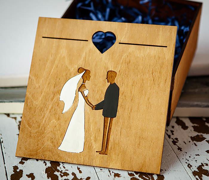 BOX236-2 Подарочная деревянная коробка на свадьбу (17*17*7 см) фото 08