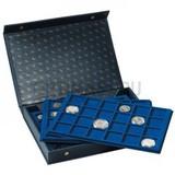 Презентационный кейс для 4 вкладышей для монет, L, включая 4 синих вкладыша (2 х 24 х 45 мм, 2 х 40 х 33 мм, квадратные ячейки)