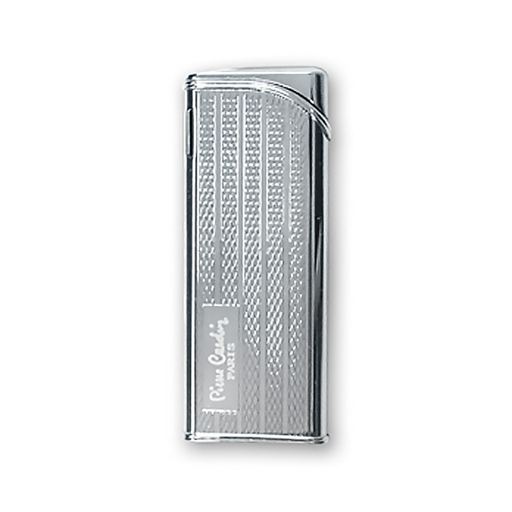 Зажигалка Pierre Cardin кремниевая газовая пьезо, цвет серебро с насечкой, 2,6x1,2x 8см