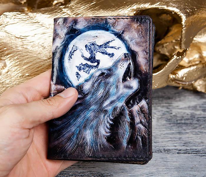 BC177 Художественная обложка на паспорт с волком фото 07