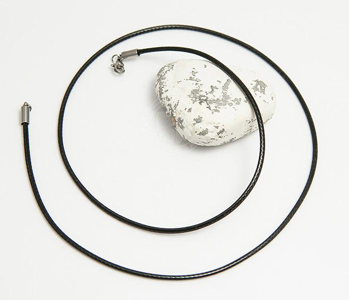 PL277-1 Шнурок на шею из текстиля черного цвета (55 см) фото 02