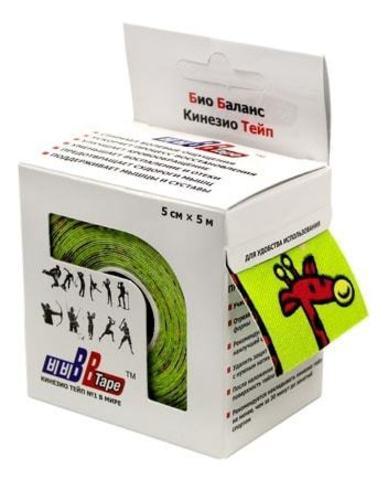 BBtape кинезио тейп 5см х 5м жирафы (зеленый)