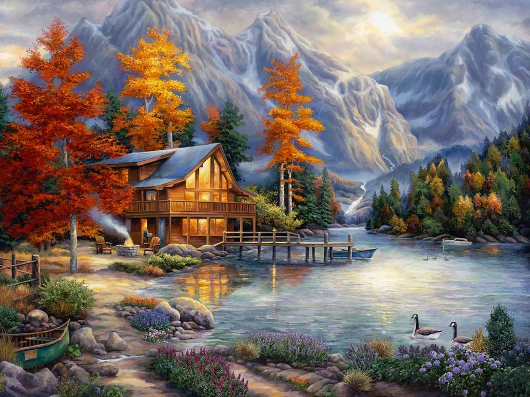 Картина раскраска по номерам 30x40 Домик у реки в горах ...