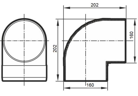 16ККП Колено 90 градусов 160 мм пластик