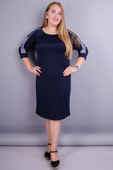 Инесса. Универсальное платье плюс сайз. Синий.