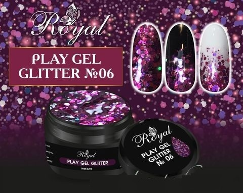 06 Gel PLAY GLITTER Royal 5мл. Артикул: 177-005
