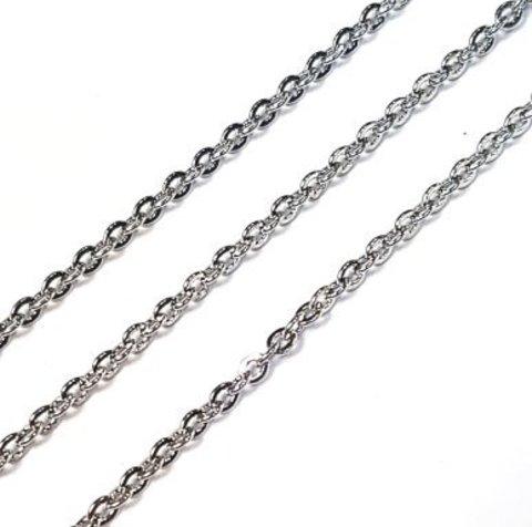 Цепочка ювелирная сталь звено 3х2 мм цена за 50 см цвет платина