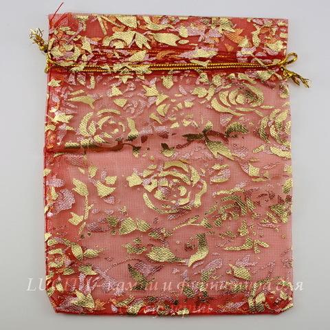 """Подарочный мешочек из органзы """"Золотые розы"""" красный, 14х11 см"""