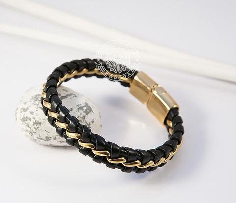 Мужской браслет из золотистой стали и кожи на магнитной застежке (20 см)