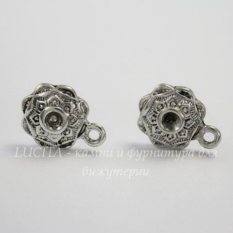 Пуссеты - гвоздики 14х11 мм (цвет - античное серебро)(без заглушек)
