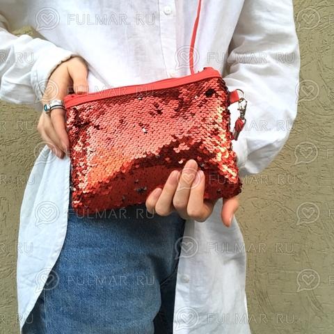Клатч-сумочка на молнии детская с пайетками меняющая цвет Красный-Серебристый