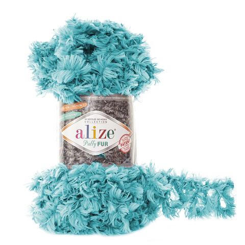 Купить Пряжа Alize Puffy Fur Цвет 6119 Бирюзовый | Интернет-магазин пряжи «Пряха»
