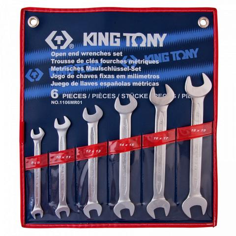 KINGTONY (1106MR01) Набор рожковых ключей, 8-19 мм, 6 предметов
