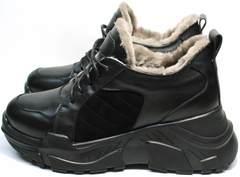 Купить зимние кроссовки женские черные кожаные на меху Studio27 547c All Black.