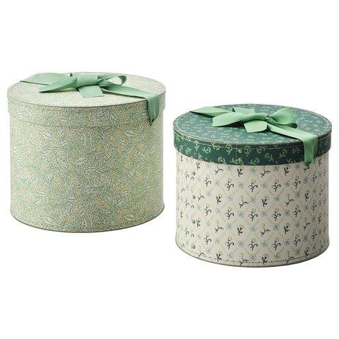 АНИЛИНАРЕ Коробка, 2 шт, круглой формы, зеленый с цветочным орнаментом