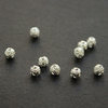 Бусина металлическая - шарик филигранный 4 мм (цвет - серебро), 10 штук