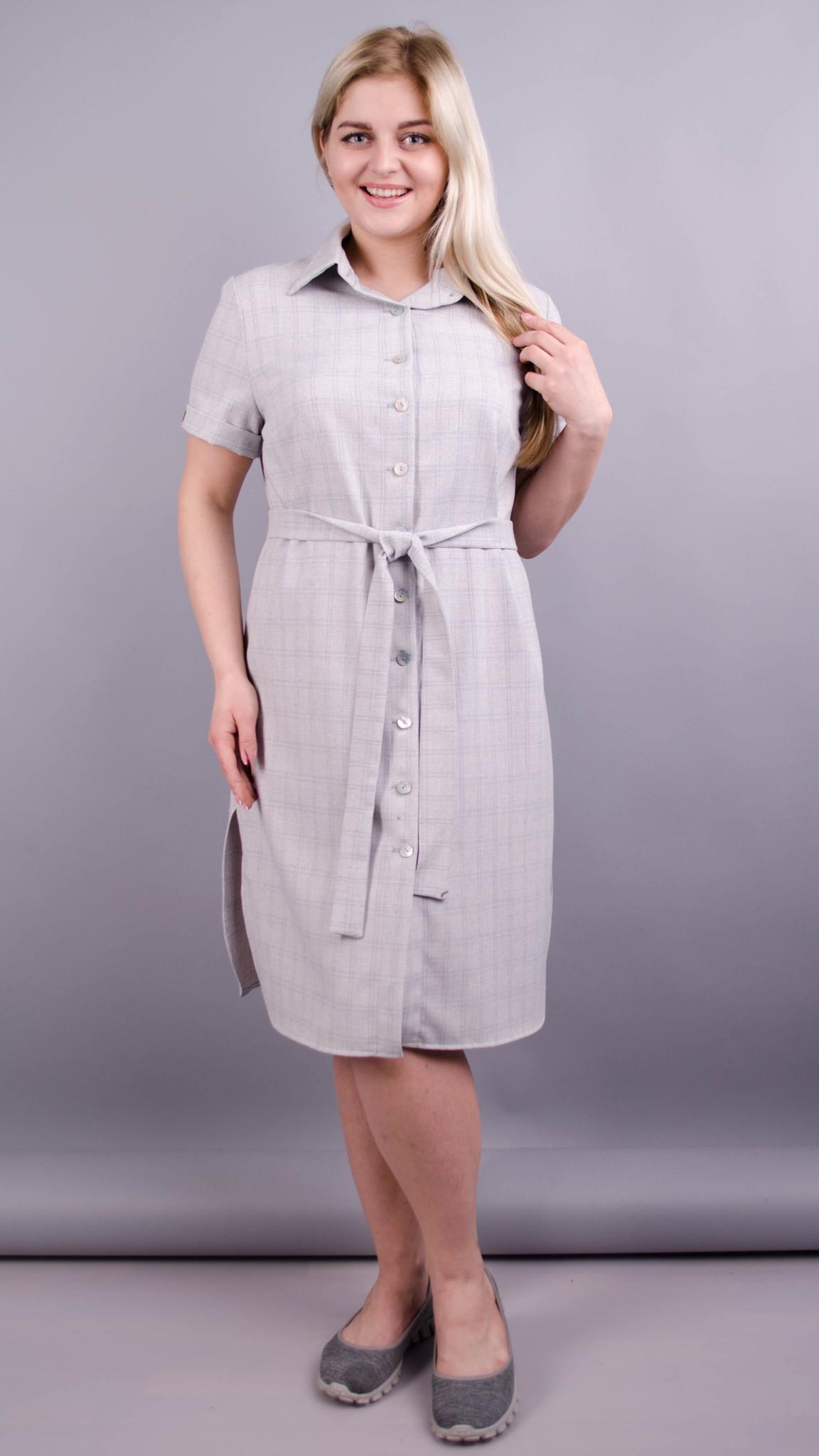 Ірина. Сукня-сорочка великих розмірів. Сірий.