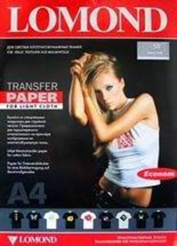 LOMOND Transfer Ink Jet Paper для светлых тканей ECONOM, A4, 140 г/м2, 10 листов