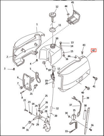 Колпак двигателя левый  для лодочного мотора T2,5 SEA-PRO (1-42)