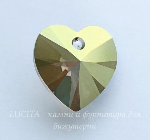 6228 Подвеска Сваровски Сердечко Crystal Iridescent Green (14,4х14 мм)